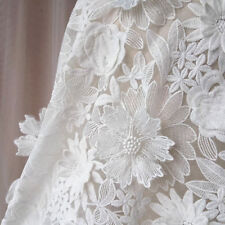"""1 Yard Ivory 3D Flowers Embroidered Organza Lace Fabric Wedding Dress 51"""" Width"""