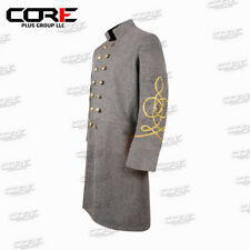 Us Civil War Cs Officer Double Breast 2 Rows Braid Grey Wool Frock Coat All Size