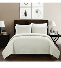 Chic Home Design Bedding Amandla 3 Piece Quilt Coverlette Ivory King NEW