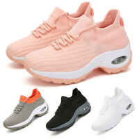 Women's Air Cushion Sneakers Sport Running Breathable Mesh Walking Slip-On Shoes
