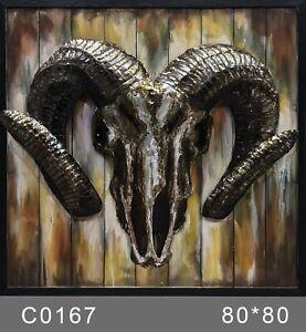 1985 Original Artwork Print, Ram`s Head Hand Made 3 Dimensional Work Paint Metal