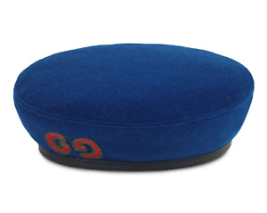 NWT Gucci Royal Blue Embroidered Green Red Web GG Logo Wool Leather Beret Hat M