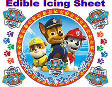 """EDIBLE PAW PATROL 8"""" ICING PERSONALISED CAKE TOPPER & LOGO BADGE BIRTHDAY PARTY"""