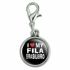 Antiqued Bracelet Pendant Zipper Pull Charm with Lobster Clasp I Love My Dog E-K