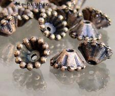 Fancy Cones Antiqued Copper Pewter Beads Caps 8mm 20 Pcs