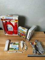 Nintendo Wii White Console System Bundle RVL-001 Wii SPORTS GAME TESTED WORKS