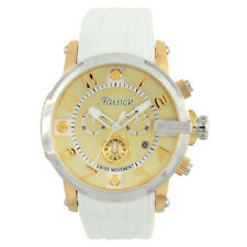 Mulco MW3-12239-012 Gold-Tone Dial White Silicone Band Unisex Quartz Watch