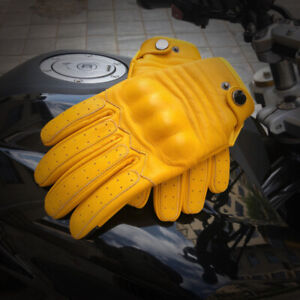 Men's 100% Real Leather Cowhide Motorcycle Bicycle Touch Screen Tactical Gloves