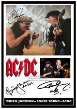 073. AC/DC Angus Young & Brian Johnson Signed a4 Photogragh great gift
