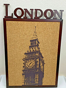 "Push Pin Cork Board Big Ben London Wall Decor Bronze Metal Frame 11.5"" x 17.5"""