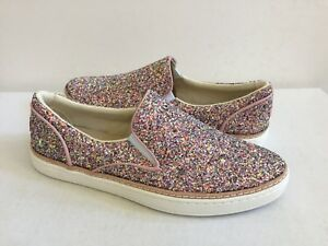 UGG ADLEY CHUNKY GLITTER CONFETTI PINK LEATHER SNEAKERS US 10 / EU 41 / UK 8.5