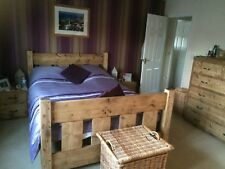 New Chunky Handmade Rustic Solid Wood 'Slat' Bed - Choose size