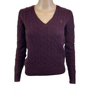 Polo Ralph Lauren Women's Cable Knit V-Neck Wool Sweater (Medium, Burgundy) 2115