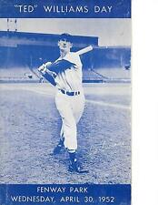 1952 Boston Red Sox-Tigers Program Ted Williams Day Splinter Homers to Win!!