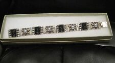 "Vintage Sterling Silver Taxco MEXICO Black Onyx Faces Carved Bracelet 0.5"" wide"
