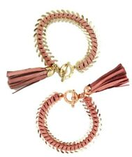 NISSA Jewelry Leather Tassel Bracelet Pink / Gold   7.5""