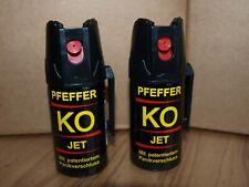 Tier Abwehrspray 2 Dosen KO- JET 40ml Pfefferspray mit Bügelclip