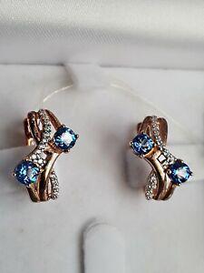 Silver 925 rose gold 585 plated swiss topaz swarovski gem earrings russian NWT