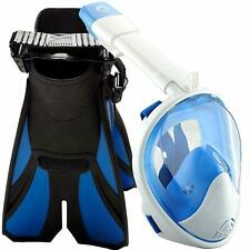 Snorkel Set with Full Face Mask and Travel Adjustable Swim Fins BLUE L/XL