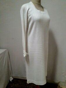Robe blanch en maille MADEMOISELLE KORRIGAN T40 VINTAGE 60/70 KNITTED DRESS sz M