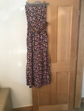 Ladies Black Floral Strapless Primark Maxi Dress Size 10 With Belt