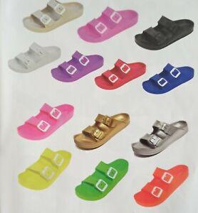 Women's Sandals, New, Double Buckle Adjustable, Slide EVA Rubber
