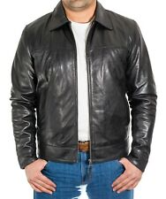 Men Black, Brown and Tan Leather Casual Smart Fitted Zipped Bomber Collar Jacket
