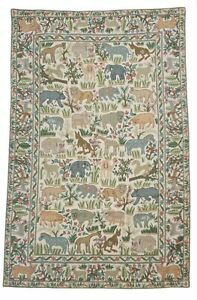 "Handmade Folk Art Kashmir Woolen Yarn Animals Area Rug Tapestry Hanging 46x72"""