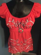 Women's Juniors Top Size M Bright Color Embroidered No Label