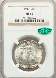 1940 P NGC + CAC MS66 Uncirculated Walking Liberty Silver Half Dollar GEM BU