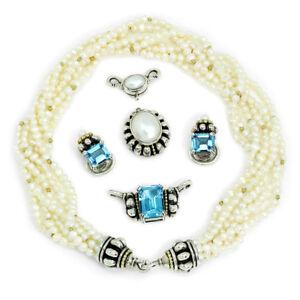 Lagos Caviar Pearl Torsade Necklace with Prism Topaz & Pearl Enhancers 18K 925