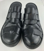 Born Women's Black Leather Mules Slides Platform Heels Shoes Sz 9M Excellent Con