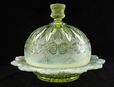DELICATE & RARE!!  Canary Vaseline  **IRIS WITH MEANDER **  Covered BUTTER!!