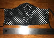 Black with White Polka Dot Face Mask, 2 fabric layers, fitted, reversible Wash