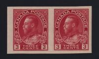 Canada Sc #137 (1924) 1c carmine Admiral Imperforate Pair Mint VF NH