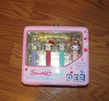 SANRIO HELLO KITTY LUNCHBOX TIN WITH 4 CLEAR PEZ CANDY DISPENSERS MY MELODY 2006