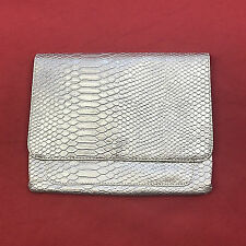 Limited Edition Women Silver Envelope Bag Magnetic Closure Faux Snake Skin Purse