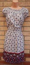 NEW LOOK WHITE BLUE BURGUNDY BAROQUE PAISLEY SKATER GYPSY A LINE TEA DRESS 16 XL