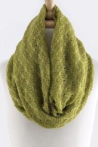 Crochet Open Weave Knit Lightweight Lime Green Infinity Scarf B10