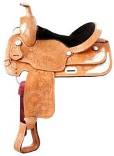 16 Inch Western Silver Show Saddle - Light Oil Leather - Loaded With Silver