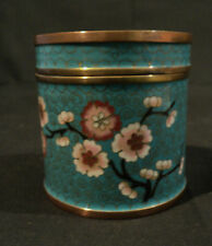 Antique Chinese Cloisonne Enamel on Bronze Lidded Box, Turquoise with Flowers