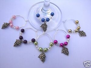 WINE GLASS RINGS coloured beads & Grapes Charm