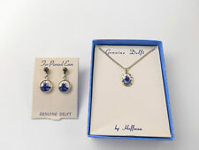 VINTAGE DELFT WINDMILL PENDANT NECKLACE MATCHING PIERCED EARRINGS BY HOFFMAN **