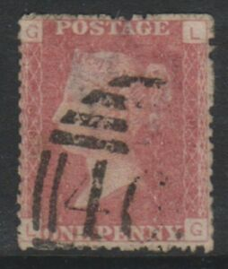 Great Britain/GB - 1858, 1d Penny Red - Letters LG - Plate 192 - Used- SG 43 (h)