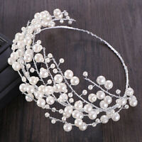 Large Luxury White Simulated Pearl Bridal Tiara Crowns Rhinestone Pageant Diadem