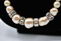 Vintage Imitation Pearl Crystal Necklace Strand Sparkling Long Costume Chic Bin2