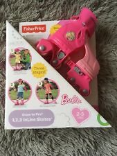 Fisher-Price Barbie Grow To Pro 1 2 3 Inline Skates For Ages 2-5 Years