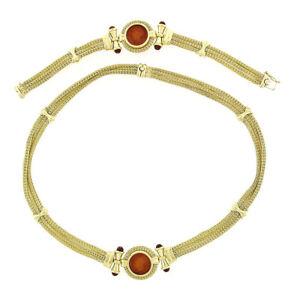 Italian 18k Gold 3 Strand Mesh Carnelian Intaglio Necklace & Bracelet Suite Set