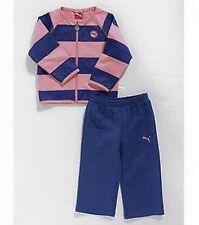 Puma Track Story Striped Set Flamingo Pink Blue Baby Girls 6-9 Months Tracksuit