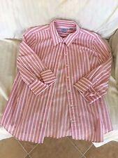Ladies IZOD button down blouse L  pink orange white striped 3/4 sleeves women's